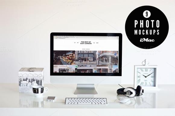 в?… BandW в?… 9 iMac photo mockups - Product Mockups - 1