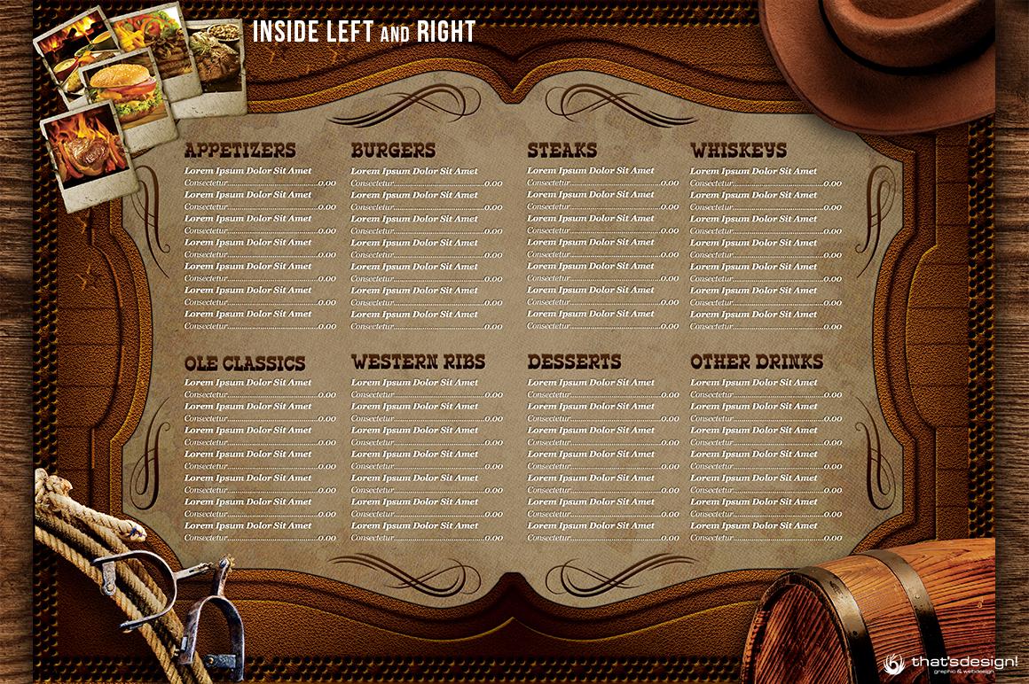 western grill restaurant menu card