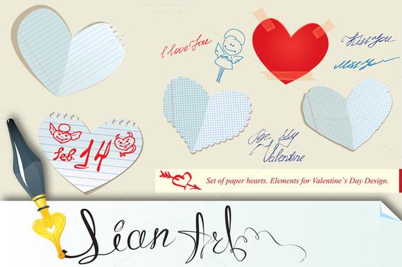 Set of paper hearts. #2 - Illustrations