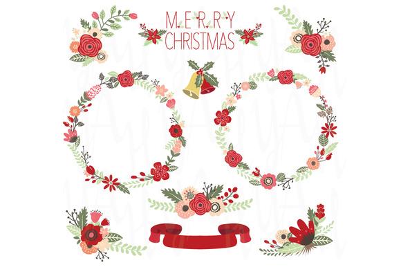 Christmas floral clip art illustrations on creative market