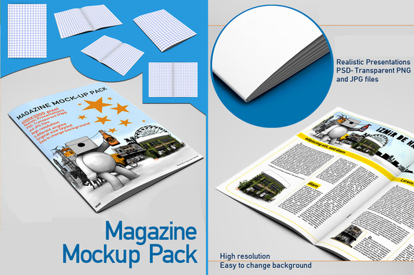5 Magazine Mock Up