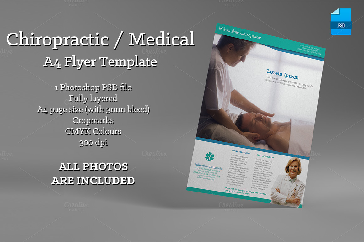 Chiropractic medical a4 flyer flyer templates on for Chiropractic brochures template