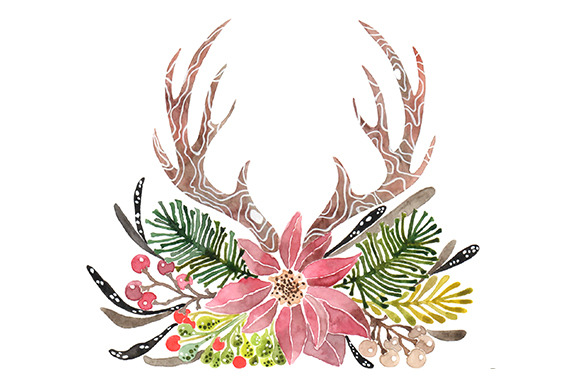 Rustic Antlers Christmas Clipart ~ Illustrations on Creative Market