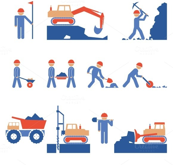 Earthwork Road Construction Icons