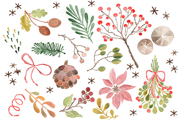 Christmas Watercolor Clip Art - Illustrations - 1