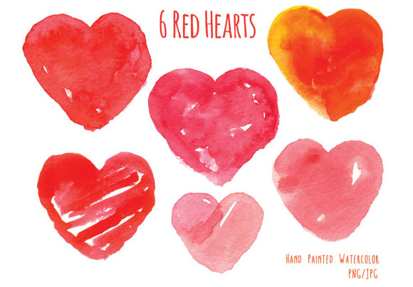 Watercolor Red Hearts