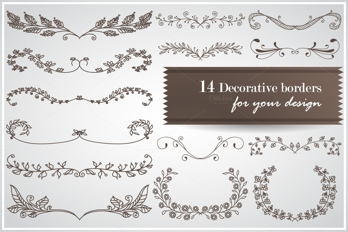 UPDATE! 14 Hand-drawn floral borders ~ Objects on Creative