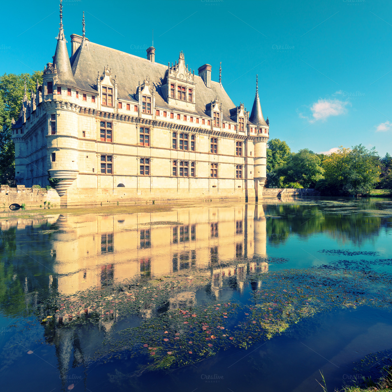 the chateau de azay le rideau architecture photos on creative market. Black Bedroom Furniture Sets. Home Design Ideas