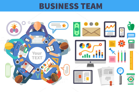 Business meeting round table illustrations on creative market