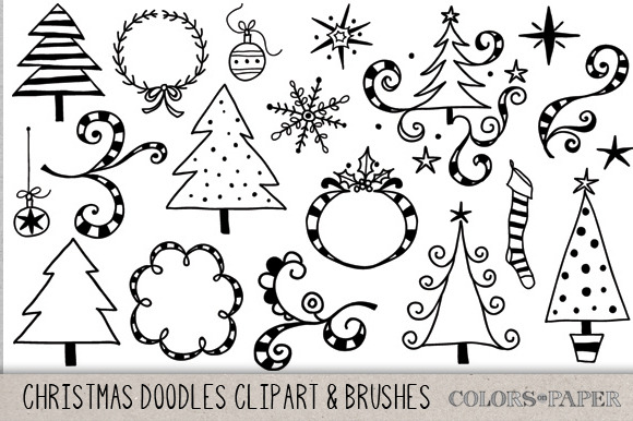 Christmas Doodles Clipart Amp Brushes Illustrations On