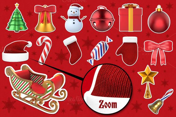 Christmas Stickers 3D