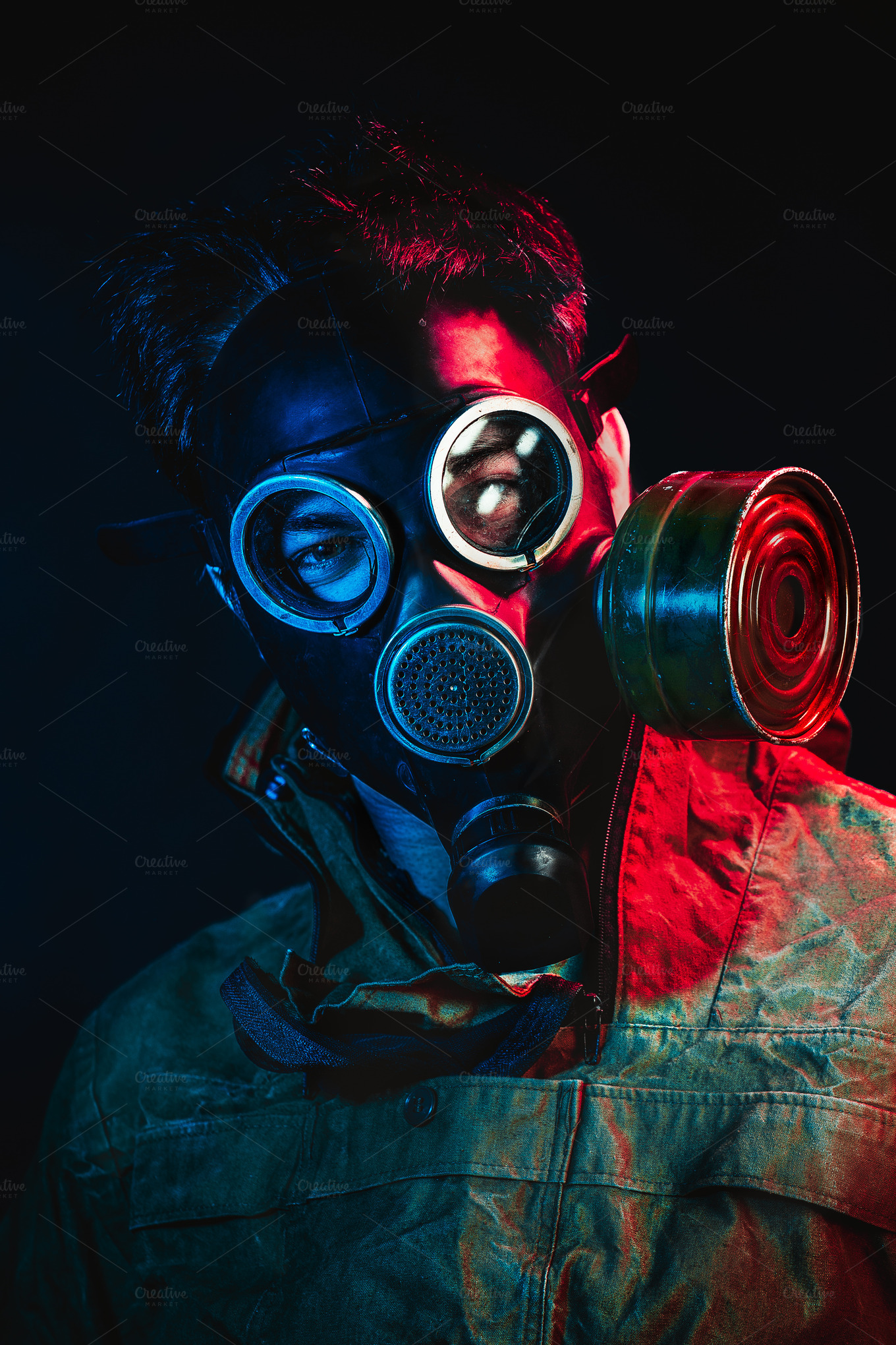 grunge portrait man in gas mask