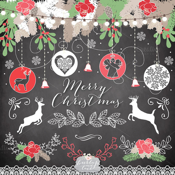Vector Chalkboard/rustic Christmas ~ Illustrations on ...