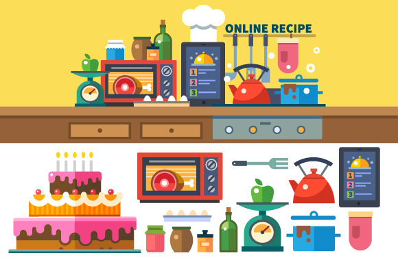Recipes online. Kitchen and cooking - Illustrations