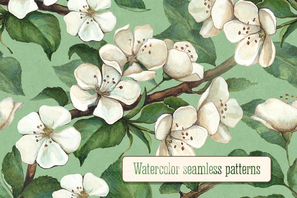 Seamless Pattern With Apple Flowers
