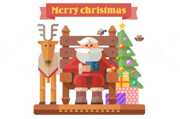 Santa and deer. Christmas time - Illustrations