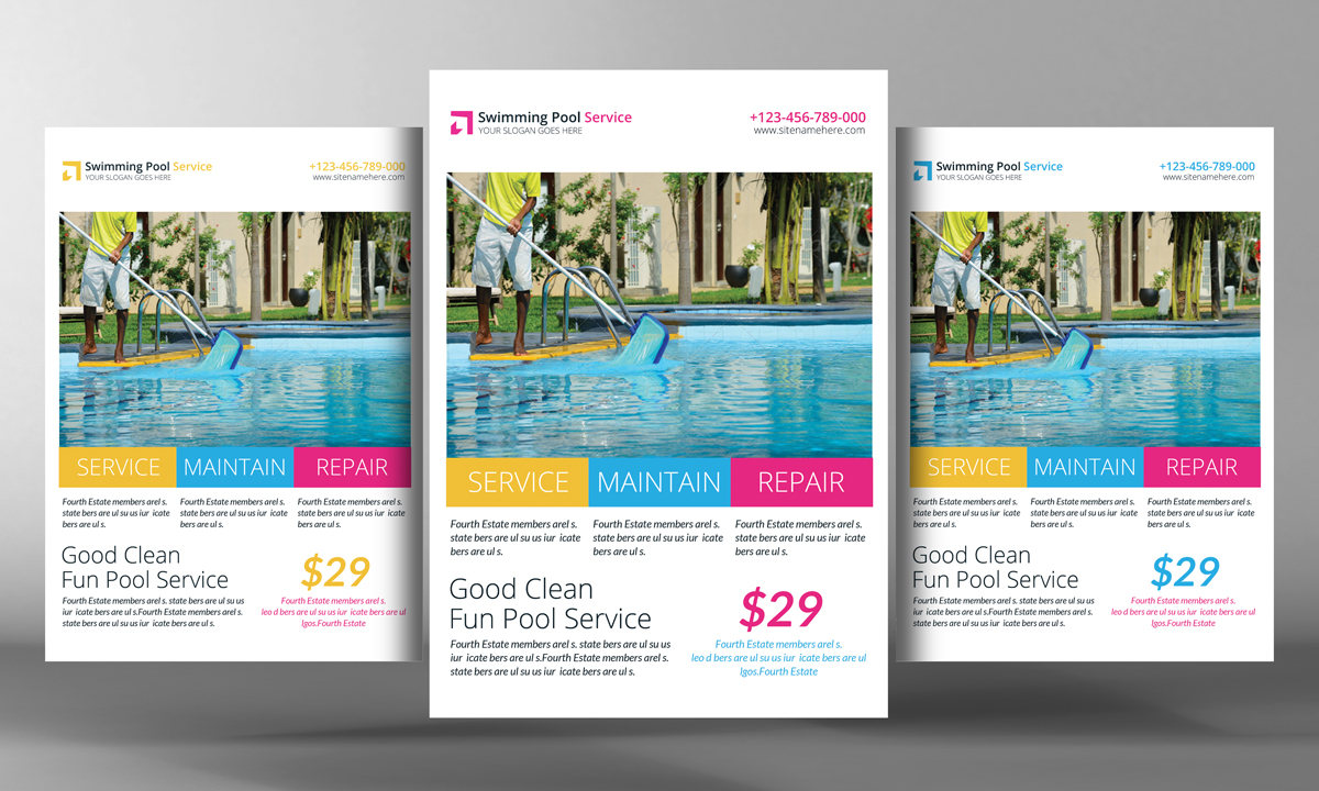 Swimming Pool Service Flyer Design : Swimming pool cleaning service flyer templates on