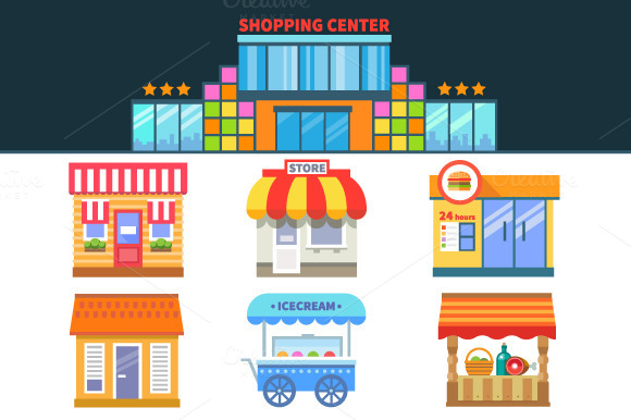 Shops and trade. Shopping Center - Illustrations