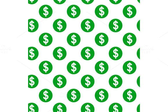 Dollar Sign Seamless Pattern On Whit