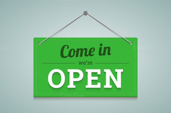 Open Sign In Flat Style