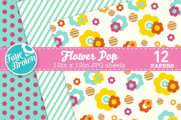 Flower Pop Digital Paper Patterns