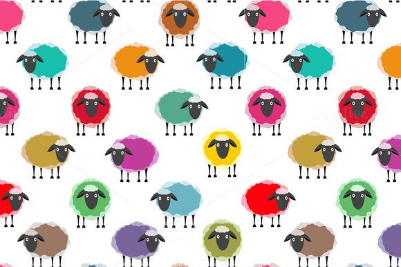 Colorful Seamless Sheep Pattern