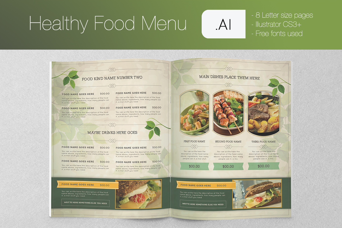 food brochure templates - healthy food menu brochure templates on creative market