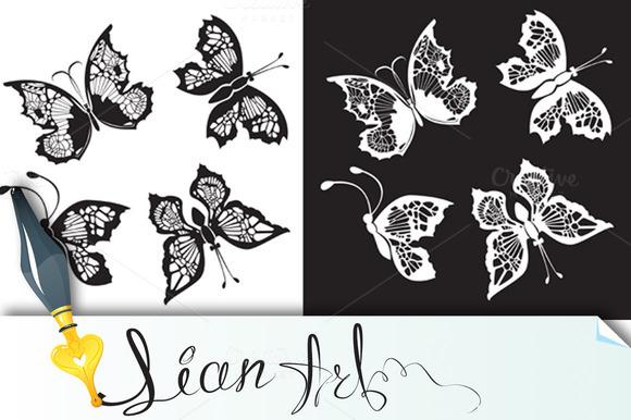 Set Of Silhouette Butterflies