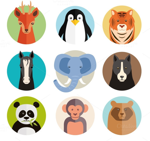 Vector Animal Icons On Round Buttons