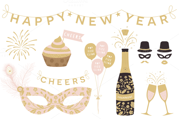 New Year Cliparts EPS & PNG ~ Illustrations on Creative Market