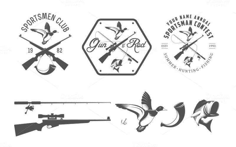 Vintage hunting logos (Set 1) ~ Logo Templates on Creative