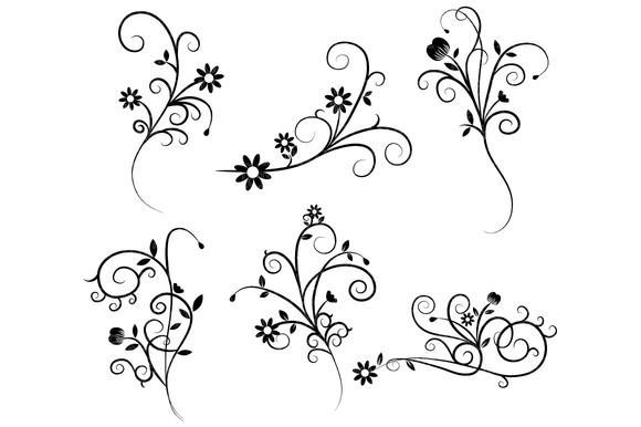 Wedding Flower Line Drawing : Flower flourish swirl clipart illustrations on creative
