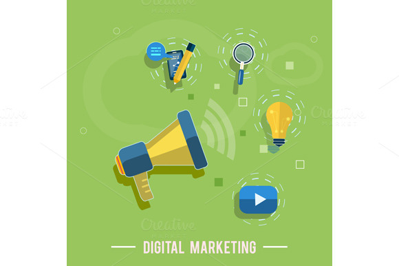 Set Digital Marketing Concept