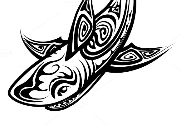 shark polynesian tattoo illustrations on creative market. Black Bedroom Furniture Sets. Home Design Ideas
