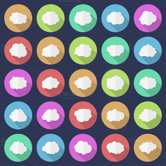 Set Of 25 Cloud Icons