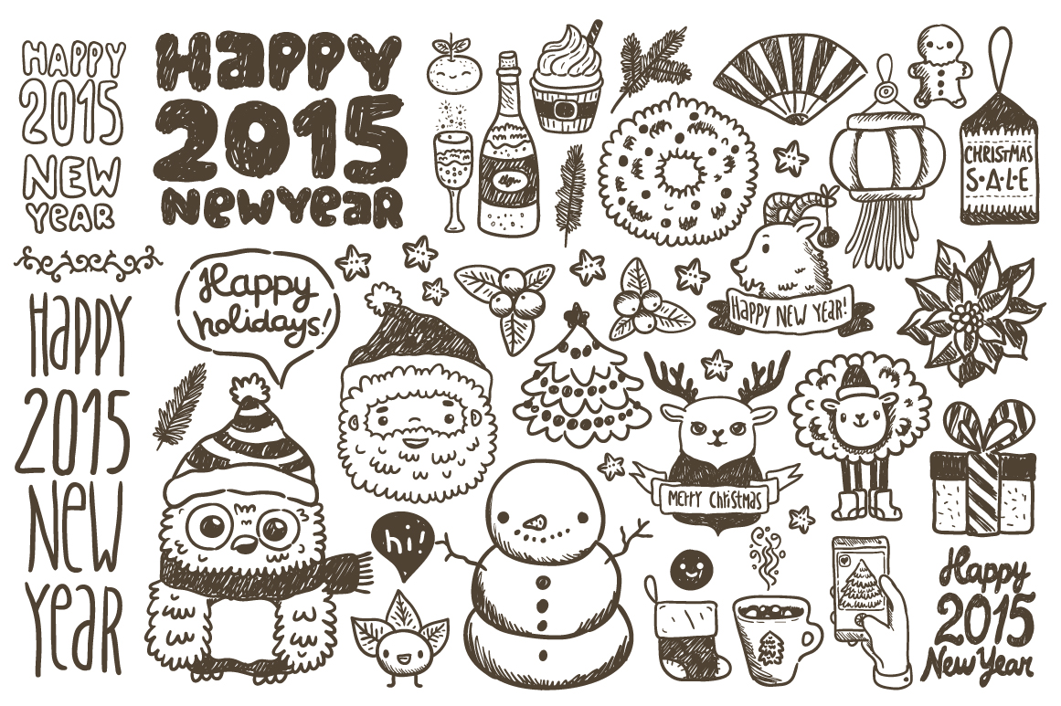 Happy New Year U0026 Christmas Sketches ~ Illustrations On Creative Market