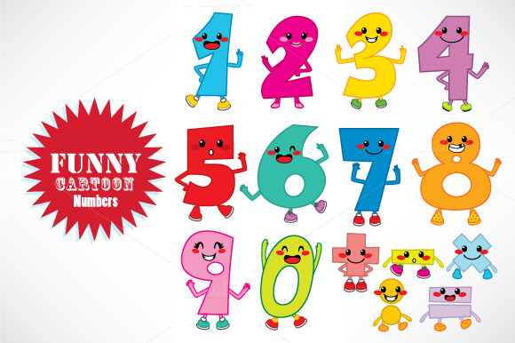 Funny Cartoon Numbers