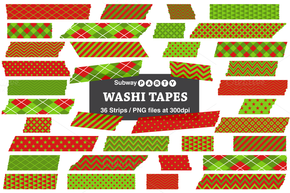 Xmas Red Lime Green Washi Tapes