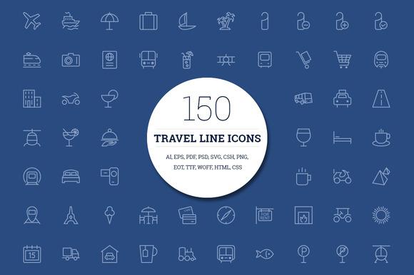 150 Travel Line Icons