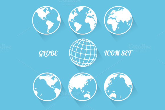 Vecrot globe icon set. Flat style - Icons