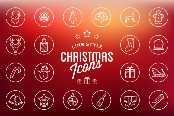 Line Style Christmas Icons