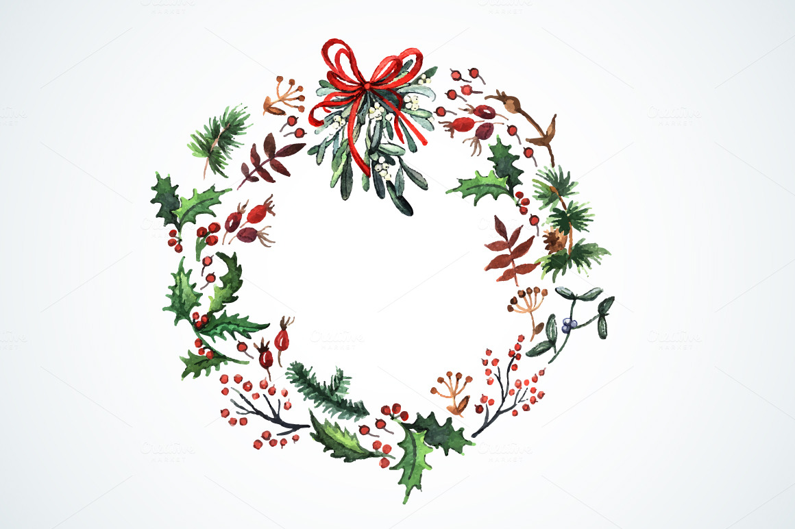 Watercolor Wreath With Christmas Plants Watercolor Christmas Decor Ideal For Watercolor Christmas Cards Christmas Wreath Illustration Christmas Calligraphy