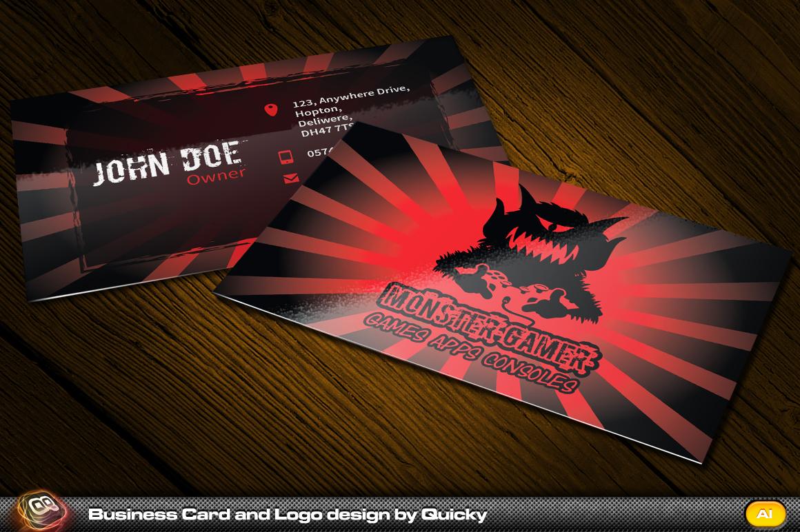 monster gamer business card and logo business card. Black Bedroom Furniture Sets. Home Design Ideas