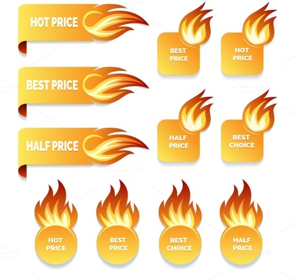 Gold Price And Sale Icons With Flame