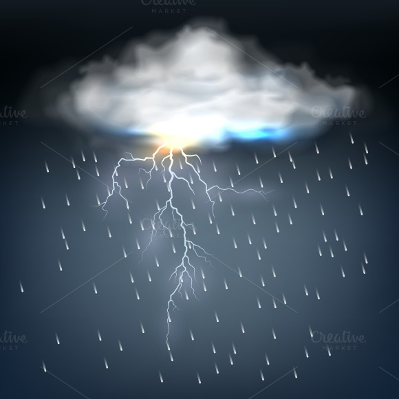 Cloud with rain and a lightning bolt ~ Illustrations on ...