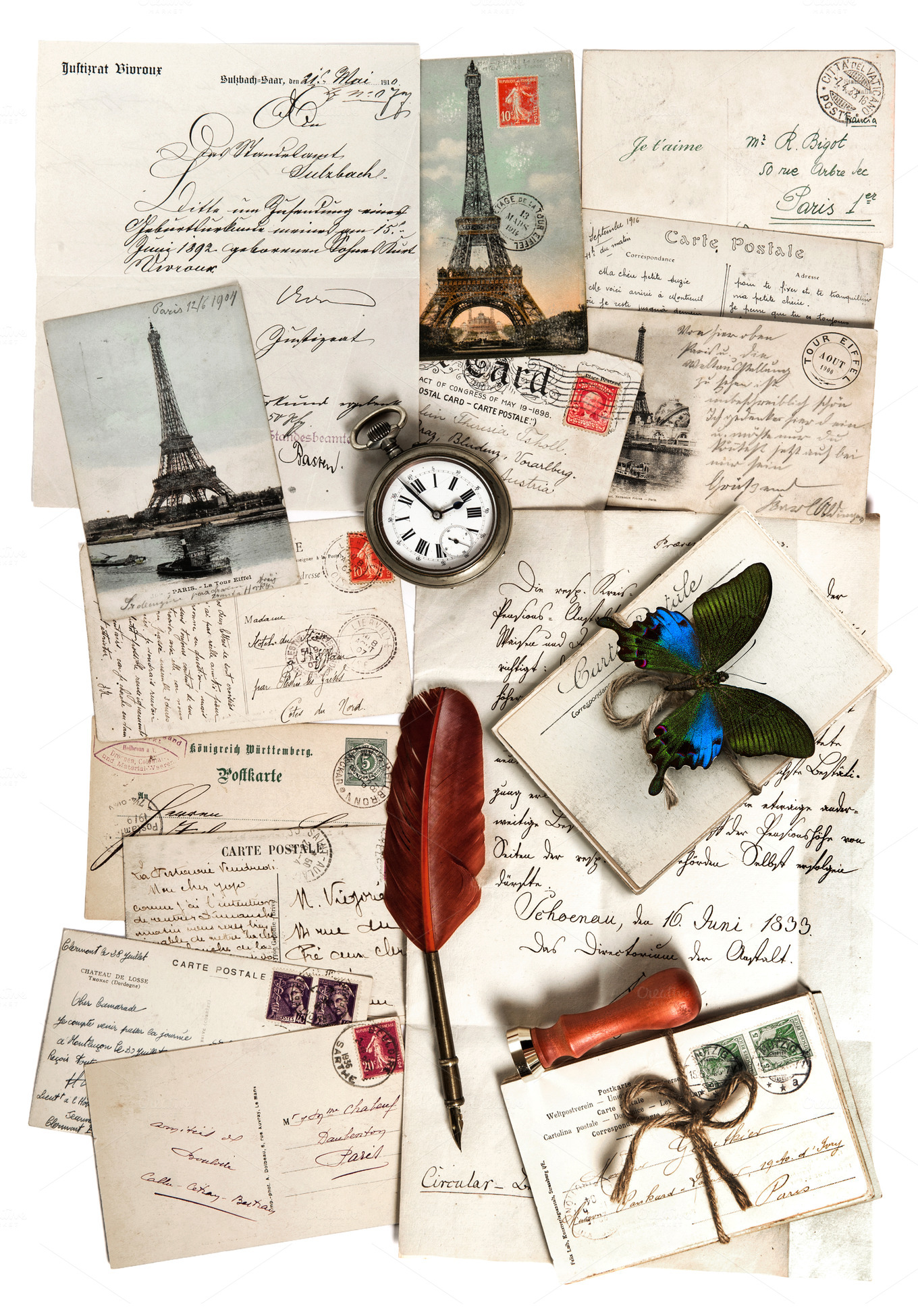 old letters and postcards holiday photos on creative market