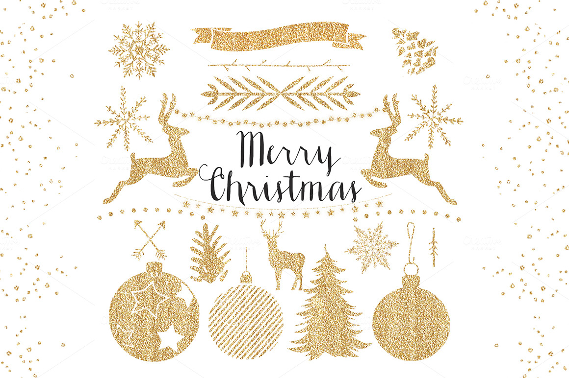 Gold Christmas Clipart ~ Objects on Creative Market