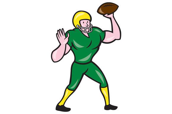 American Football QB Throwing Retro ~ Illustrations on