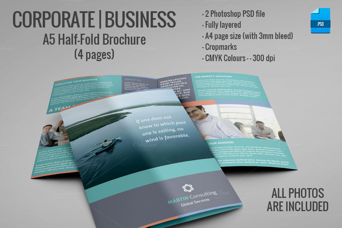 A5 half fold brochure 4 pages brochure templates on for Half fold brochure template free