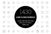 1430 Line Icons Bundle-Graphicriver中文最全的素材分享平台